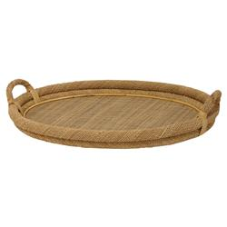 Palecek Oval Coastal Bazaar Woven Rope Rattan Oval Tray | Kathy Kuo Home