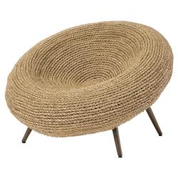 Palecek Paxton Coastal Beach Hand-Woven Natural Seagrass Metal Saucer Chair | Kathy Kuo Home