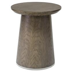 Palecek Petra Modern Classic Wood Ash Brown Round Side End Table | Kathy Kuo Home