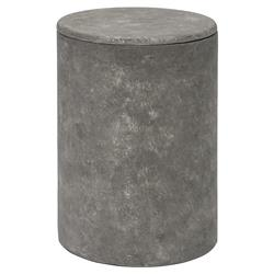 Palecek Roan Modern Classic Crushed Limestone Cement Drum Outdoor Side End Table | Kathy Kuo Home