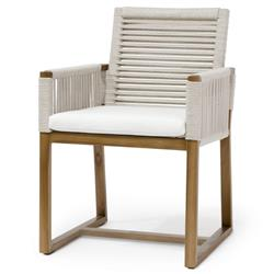 Palecek San Martin Coastal Beach Salt Rope Wrapped Outdoor Arm Chair | Kathy Kuo Home
