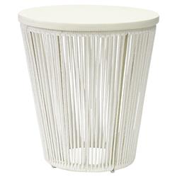 Palecek Sausalito Modern Coastal Wood Hand Woven White Round Side End Table | Kathy Kuo Home