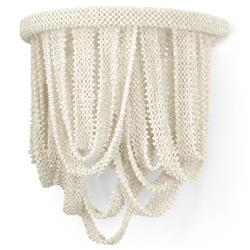 Palecek Selita Coastal Beach Cream White Coconut Beaded Wall Sconce | Kathy Kuo Home
