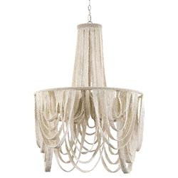 Palecek Selita Coastal Beach White Coco Beaded Chandelier | Kathy Kuo Home