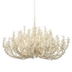 Palecek Seychelles Coastal Beach White Coco Beaded Chandelier | Kathy Kuo Home