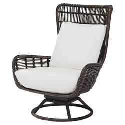 Palecek Sorrento Modern Coastal Aluminum Hand Woven Brown Swivel Outdoor Lounge Chair | Kathy Kuo Home