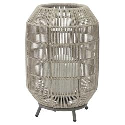 Palecek St. Tropez Coastal Beach Light Grey Woven Rope Outdoor Lamp - Large | Kathy Kuo Home
