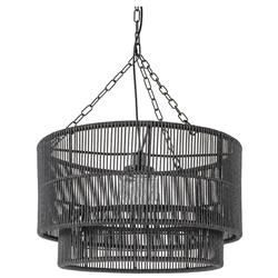 Palecek Tanner Modern Classic Black Woven Wicker Outdoor Drum Pendant | Kathy Kuo Home
