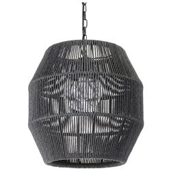 Palecek Tanner Modern Classic Black Woven Wicker Outdoor Octagonal Pendant Lantern | Kathy Kuo Home