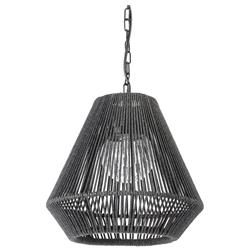 Palecek Tanner Modern Classic Black Woven Wicker Outdoor Tapered Pendant Lantern | Kathy Kuo Home