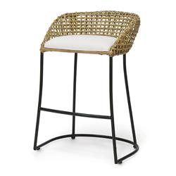 Palecek Vero Coastal Beach Black Iron Woven Rattan Counter Stool | Kathy Kuo Home