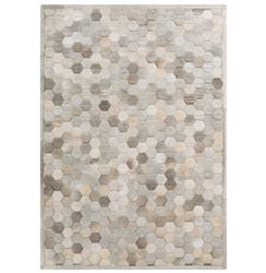 Palika Global Bazaar Honeycomb Beige Grey Cowhide Rug - 2x3 | Kathy Kuo Home