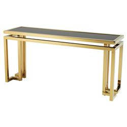 Palmer Modern Classic Rectangular Black Glass Top Gold Console Table | Kathy Kuo Home