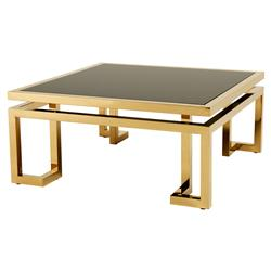 Palmer Modern Classic Square Smoked Glass Top Gold Coffee Table | Kathy Kuo Home