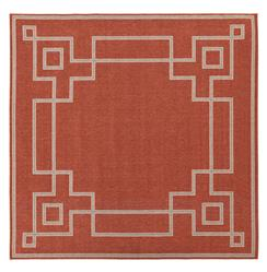 "Paloma Hollywood Regency Graphic Red Taupe Outdoor Rug - 8'9"" Square 