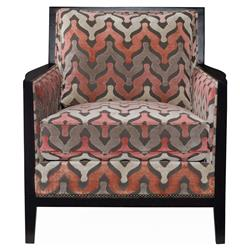 Pandora Modern Classic Coral Grey Pattern Armchair | Kathy Kuo Home