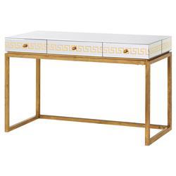 pascal hollywood regency greek key gold mirror desk kathy kuo home
