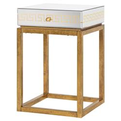 Pascal Hollywood Regency Greek Key Gold Mirror End Table | Kathy Kuo Home