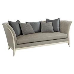 Pasha Modern Classic Curvaceous Exposed Frame Silver Leaf Grey Upholstered Sofa | Kathy Kuo Home
