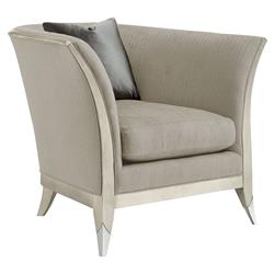 Pasha Modern Classic Exposed Frame Silver Leaf Grey Upholstered Arm Chair | Kathy Kuo Home