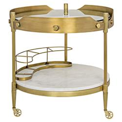 Pasquale Modern Industrial Antique Brass Round Stone Bar Cart | Kathy Kuo Home