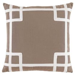 Paton Classic Outdoor Beige Trellis Trim Pillow - 20x20 | Kathy Kuo Home