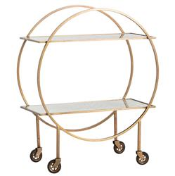 Paulie Modern Deco Antique Brass Circle Bar Cart | Kathy Kuo Home