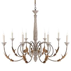 Pauline Large French Country 8 Light Curled Iron Arm Chandelier | Kathy Kuo Home