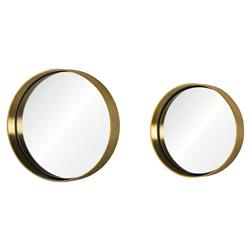 Pax Modern Regency Round Brass Wall Mirrors - Pair | Kathy Kuo Home