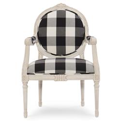 Pearl French Ivory Checked Louis Armchair | Kathy Kuo Home