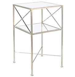 Penelope Hollywood Regency Silver Mirror Side Table | Kathy Kuo Home