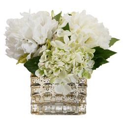 Peony Hydrangea Mercury Glass Faux Floral Arrangement | Kathy Kuo Home