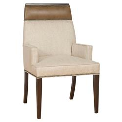 Peony Modern Classic Wood Linen Upholstered Nailhead Dining Arm Chair | Kathy Kuo Home