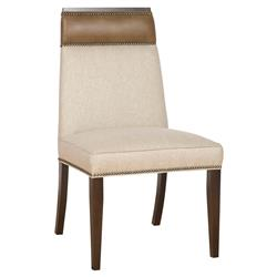 Peony Modern Classic Wood Linen Upholstered Nailhead Dining Side Chair | Kathy Kuo Home