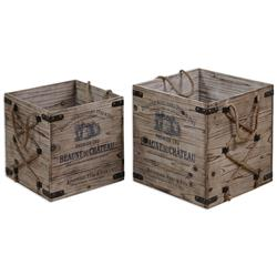 Pere French Country Rustic Rope Wine Crates - Set of 2 | Kathy Kuo Home
