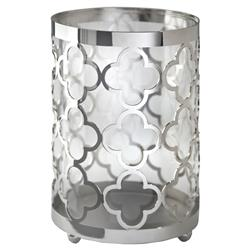 Perpetua Hollywood Regency Silver Quatrefoil Hurricane - S | Kathy Kuo Home