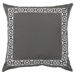 Perri Modern Global Trim Grey Outdoor Pillow - 22x22 | Kathy Kuo Home