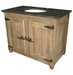 Perron French Country Reclaimed Elm Blue Stone Single Bath Vanity Sink | Kathy Kuo Home