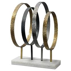 Peter Mid Century Modern Grey Gold Metal White Marble Sculpture | Kathy Kuo Home