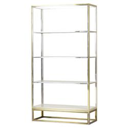 Phila Regency Glass Silver Gold Etagere | Kathy Kuo Home