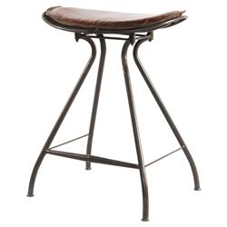 Philart Loft Brown Leather Iron Counter Stool | Kathy Kuo Home