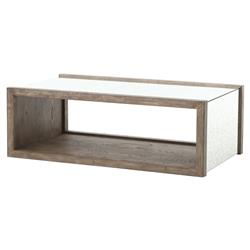 Philip Rustic Washed Grey Wood Antique Mirror Coffee Table | Kathy Kuo Home