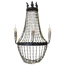 Phoebe French Country Black Iron Antique White Wood Beaded Sconce | Kathy Kuo Home