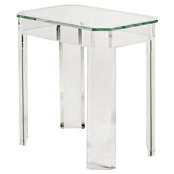 Picabo Modern Classic Angled Acrylic End Table | Kathy Kuo Home
