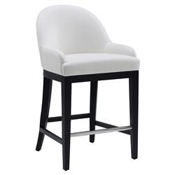 Pickering Modern Classic Ivory Leather Black Wood Counter Stool | Kathy Kuo Home