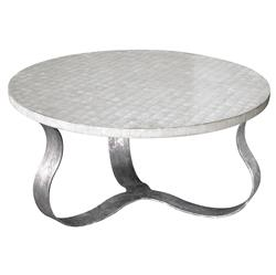 Pico Oly White Shell Antique Silver Coffee Table | Kathy Kuo Home