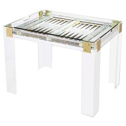 Interlude Pierre Modern Acrylic Brass Hinge Backgammon Table | Kathy Kuo Home