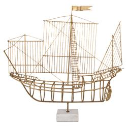 Pinta Gold Metal Marble Ship Sculpture | Kathy Kuo Home