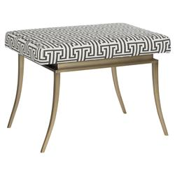 Pip Regency Grey White Greek Key Brass Footstool | Kathy Kuo Home