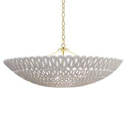 Pipa Oly Frost White Ribbon Bowl Chandelier | Kathy Kuo Home